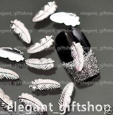 50pcs Nail Art Decoration (4 x 10)mm Silver Glitter Feather Alloy Jewelry#AM_02