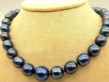 """New 9-10mm Tahitian Black Natural Pearl Necklace 18"""" AAA+"""