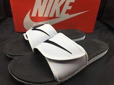 Nike Kawa Adjust Mens 834818-101 White Black Logo Strap Slide Sandals Size 14