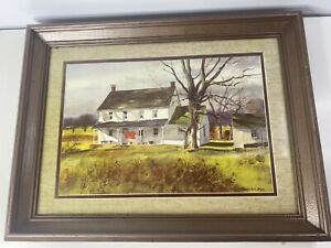 """Ranulph Bye Country House Vintage Watercolor Print Matted & Framed 19X25"""""""