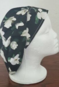 Black Green White Flowered Surgical Scrub Hat Cap Women Ladies Medical Vet US