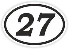 27 TWENTY-SEVEN  NUMBER OVAL STICKER bumper decal motocross motorcycle Aufkleber