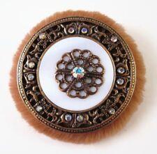 £35 Baroque Brown Faux Fur Gold White Round Brooch Swarovski Elements Crystal