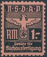 Stamp Germany Revenue WWII Fascism War Era Buchaustertigun 1RM MNG