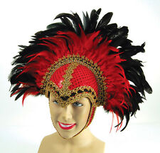 Red Feather Burlesque Danseuse Vegas Showgirl coiffure robe fantaisie B
