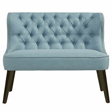 """Biscotti"" Collection Accent Double Bench in Blue/Grey by !nspire"