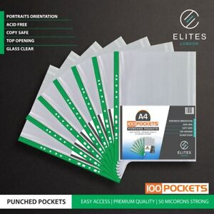 A4 PLASTIC PUNCHED POCKETS 50 MICRON HEAVY DUTY FOLDER FILING WALLET SLEEVES UK