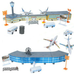 200PCS Airport Playset Airplane Aircraft Models & Accessories Assembled Kid Toys