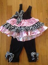 Nesting Baby Pink Black Zebra Outfit Tank Top Pants Leggings Baby Girl 2t