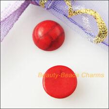 30Pcs Red Turquoise Round Loose Cabochon Gemstone FlatBack 8mm