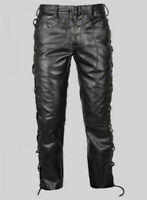 Men's Black Cowhide Leather Pant Breeches BLUF Biker Jeans Trousers Lederhosen