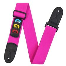 New Neon Pink Cotton Guitar Strap Pick Holder Free Picks Plectrums Slots