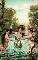Vtg Postcard 1909 Bathing Beauties Printed With Theater Program Reverse Unique!