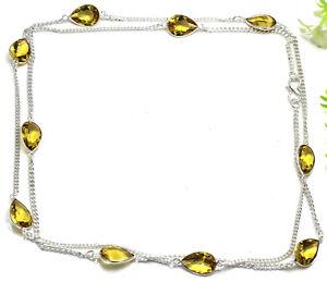 "925 Sterling Silver Yellow Citrine Gemstone Handmade Jewelry Necklace Siz-30-32"""