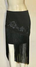 Caché black embroidered floral skirt with fringe 4 NWT