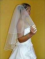 """New 2T White / Ivory Wedding Prom Bridal Elbow Veil With Comb 31"""" Length"""