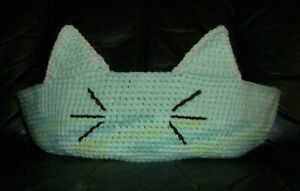 Crochet Cat Bed LARGE 18 Inches Hand Made In the USA Green Blue