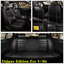 Deluxe Edition Black PU Leather Full Set Car Seat Cover Cushion For 5 Seat Car