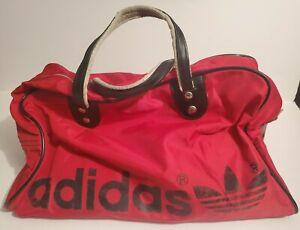 Vintage Adidas Red Duffel Bag With Black Trefoil Logo Gym Workout Sports