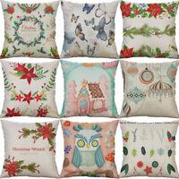 "18"" Cotton Linen Christmas sock Flower Home Decorative Pillow Case Cushion Cover"