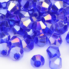 100pcs blue ab exquisite Glass Crystal 4mm #5301 Bicone Beads loose beads