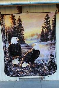 EAGLE TIES THAT BIND TERRY DOUGHTY CABIN FOREST QUEEN SIZE BLANKET BEDSPREAD