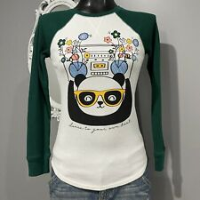 XL Girls Also Fits XS Womans Panda Boombox Green White Thermal Top