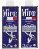 Lot 2 MIROR Formule argentil, nettoyant argent, chrome, inox, nickel, étain 2x25