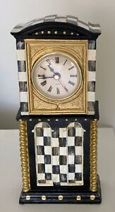 MY OWN Hand Painted Whimsical Courtly Mini Grandfather CLOCK-Black & White Check