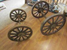 4 Antique Ames Plow Co. Wood & Iron Farm Cart Wheels w/Axels