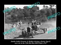 HISTORIC MOTOR RACING PHOTO OF ROB ROY HILL CLIMB, DERBY TYPE E RACE CAR c1947