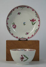 18th Century Newhall porcelain criss-cross and swags tea bowl and saucer