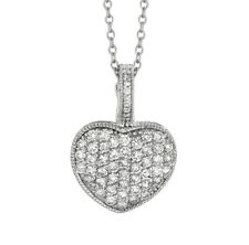 1.55 Carat Natural Diamond Heart Necklace Pendant 14K White Gold G SI 18''