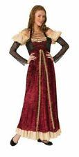 Medieval/Renaissance Maiden Costume Burg/Tan/Blk Poly Velour Costume Dress