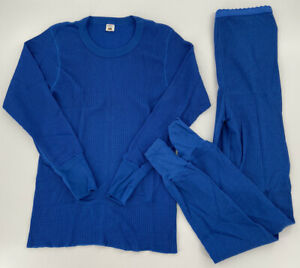 Vintage 80's Women's Fruit Of The Loom Warm Feelings Thermal Pajama Set Size Lrg