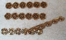 VINTAGE 3 DIMENSIONAL FLOWERS BAR STAMPINGS FINDINGS 6 PCS  GLUE  TO A COMB