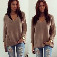 Womens Long Sleeve V-Neck Knit Sweater Pullover Jumper Loose Coat knitwear Shirt
