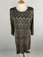 Ladies Dress Size 14 Black Rose Gold Shimmer Party Evening