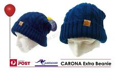 Corona Extra Beer Hat Beanie Removable Pom Pom BNWT Leather Patch Acrylic Wool