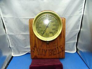"Vintage The Ashcroft MFG. Co. Brass & Cast Iron 7 1/2"" Steam Gauge / Wood Plaque"