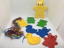8 Sewing Cards Plastic Lacing Animals Preschool Fine Motor Hand Eye Coordination