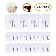 24 PCS Adhesive Utility Hooks Heavy Duty Wall Transparent Reusable Waterproof