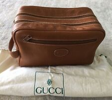 Gucci Vintage Brown Leather Overnight Travel Toiletry Cosmetics Bag Tote