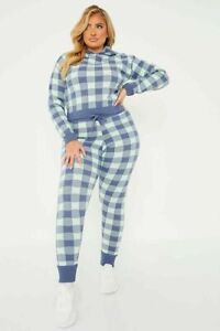 New Womens Ladies Tracksuit Checked Knitted Hoodie with Slim Leg Trousers 8-22