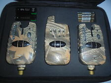 2 x Wireless CAMO Bite alarms & Receiver. Running LED's. Volume, tone, Carp.....