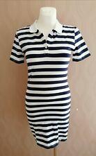New Superdry Polo Striped Dress Stretchy Cotton Navy White Dress Medium UK 10