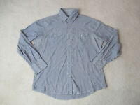 Wrangler Pearl Snap Shirt Adult Large Gray White Striped Long Sleeve Western *