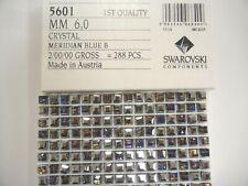 24 swarovski cube shape crystal beads,6mm meridian blue #5601