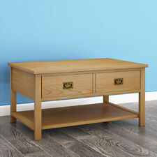 Oak Coffee Table / Light Oak Lounge Table / Solid Wood Table / With Drawers UK