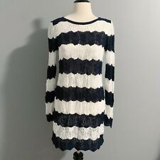 A Pea in the Pod Striped Loose Knit Sweater Tunic Navy & White Sz M